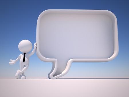 3d gente - hombre, persona con un bocadillo en blanco. La comunicación concepto