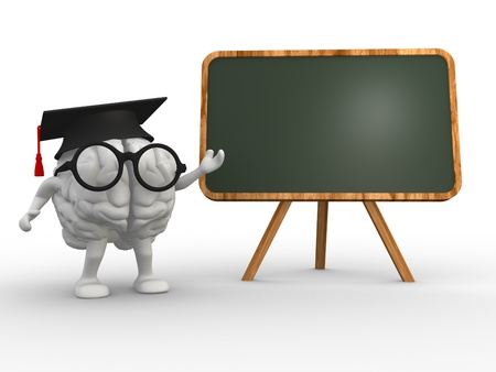 cerebra: 3d brain and a backboard. Concept of intelligence Stock Photo
