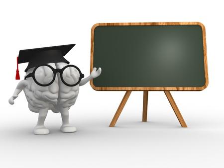 Cerebro 3d y un escudo. Concepto de inteligencia