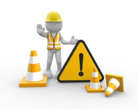 alerta: 3d gente - hombre, trabajador persona con monedas de tráfico y señal de advertencia