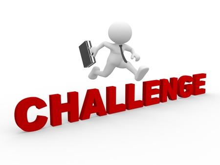 3d Menschen - ein Mann, Person, Springen über den Text 'Herausforderung'