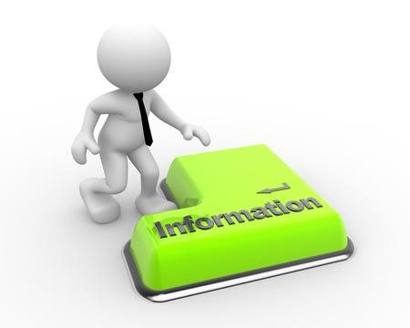 3d gente - hombre, botón de Información del teclado. Hombre de negocios Foto de archivo