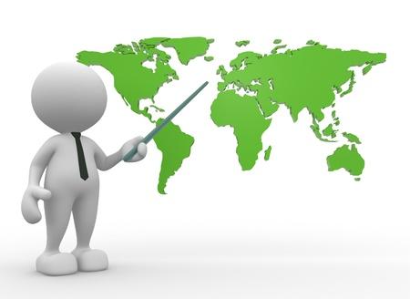 3d mensen - een man, persoon met de wereldkaart