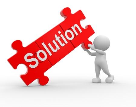 """3d mensen - een man, iemand met stukjes van de puzzel en het woord """"oplossing"""""""