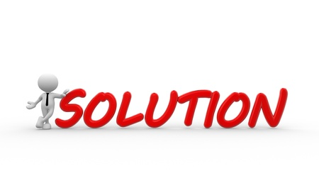 3d people - man, person standing near a red solutions text. Businessman