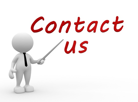 3d contact us: 3d people - man, person pointing a text CONTACT US  Stock Photo