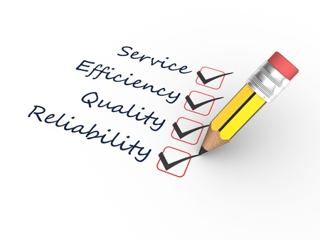 3d render einen Bleistift und Zuverlässigkeit, Effizienz, Qualität, Service