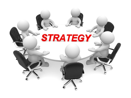 3d people - man, person at conference table  Business strategy  Stock Photo