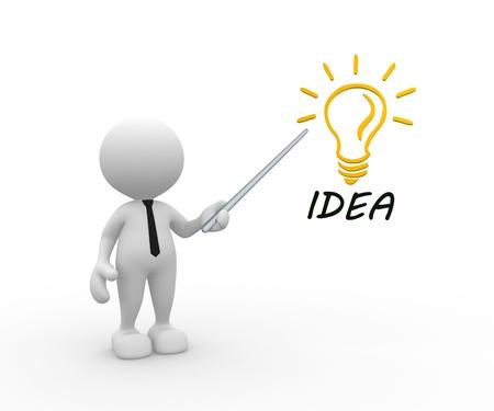 3d gente - hombre, persona con una bombilla y la palabra IDEA Eficiencia energética Foto de archivo