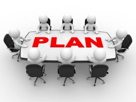 3d mensen - mannen, persoon aan tafel conferentie Zakelijke bijeenkomst en planning