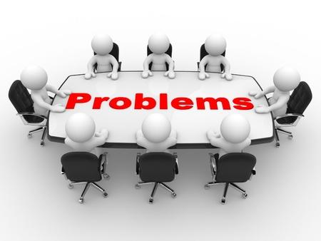 3d mensen - mannen, persoon aan tafel conferentie Bedrijvengids problemen Stockfoto