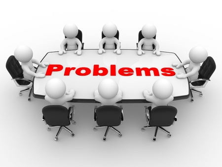 3d people - men, person at conference table  Business problems