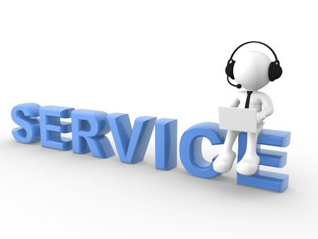 3d people - man, person with laptop and a headphones sitting on the word SERVICE photo