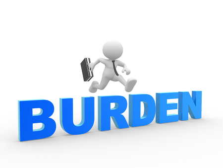 burden: 3d people - man, person with the text burden