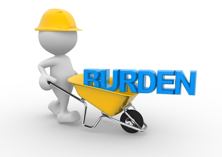 burden: 3d people - man, person with a wheelbarrow and word burden Stock Photo