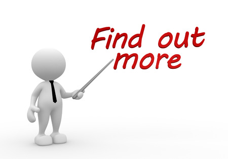 find out: 3d people - man, person  pointing text  find out more