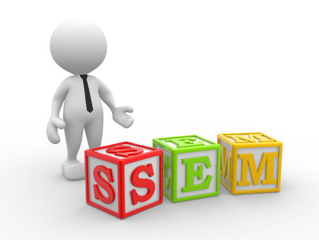 3d people - man, person with cubes and text  SEM- search engine marketing. photo