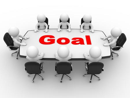 3d gente - hombres, persona en la mesa de conferencias. Reunión de negocios y la meta.
