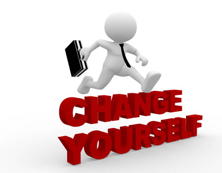 encourage: 3d people - man, person jumping over change yourself Stock Photo
