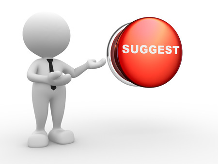 suggest: 3d people - man, person and a button with word suggest