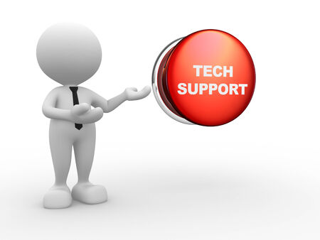 3d people - man, person and a button with text ' tech support' photo