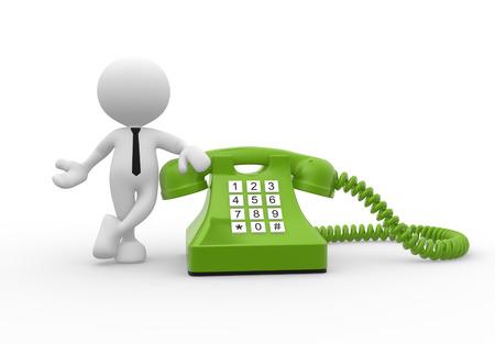 3d mensen - een man, persoon persoon opgeven in groene telefoon