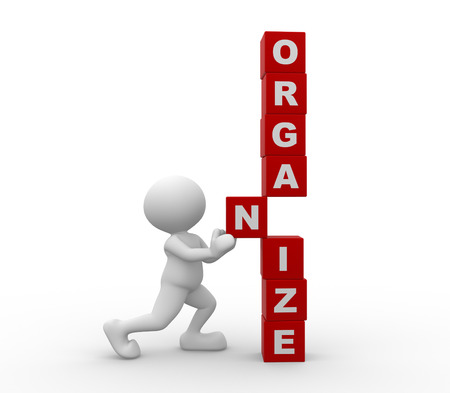 """3d mensen - een man, persoon met blokjes en woord """"organiseren"""""""
