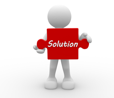 joining services: 3d people - man, person with puzzle. Solution concept
