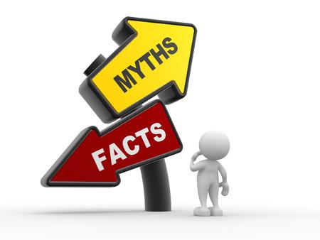 Les gens 3d - homme, personne et enseigne directionnelle de faits contre les mythes Banque d'images - 24896736