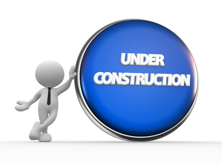 3d people - man, person with button, Under conctruction Stock Photo - 24896738