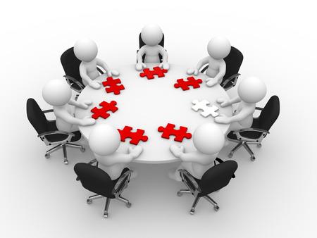 3d lidé - muž, člověk u kulatého stolu a dílky puzzle (puzzle)