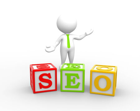 3d people - man, person with a cubes and word 'seo'. Search Engine Optimization.  photo