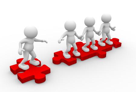 3d mensen - mannen, persoon en stukjes van de puzzel (puzzel). Word lid van onze Community Stockfoto