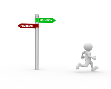 opposites: 3d people - man, person with signpost with two directions with the text solutions and problems Stock Photo