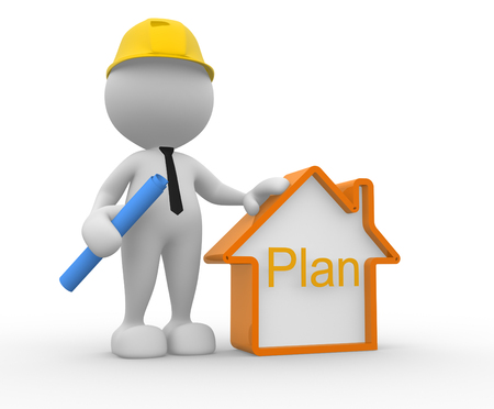 3d people - man, person with a house. Builder  photo