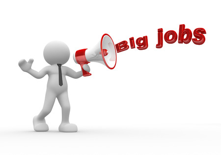 3d people - man, person with a megaphone and word  Big Jobs photo
