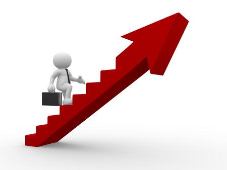 growth: 3d gente - hombres, persona que suben las escaleras con la flecha. Foto de archivo