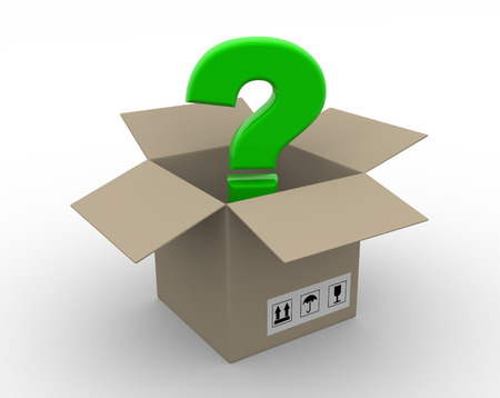 Question mark in a box - 3d render photo