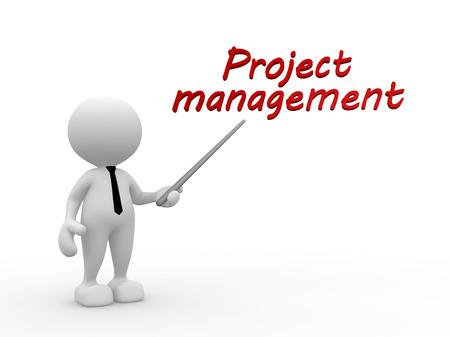 """3d gente - hombre, persona y el texto """"gestión de proyectos"""" Foto de archivo"""