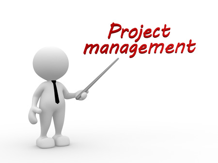 "3d mensen - een man, persoon en de tekst ""Projectmanagement"""
