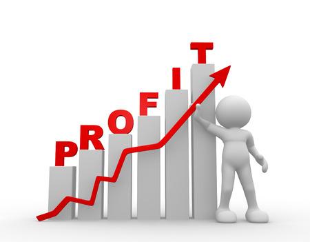 3d people - man, person explaining the chart. Profit