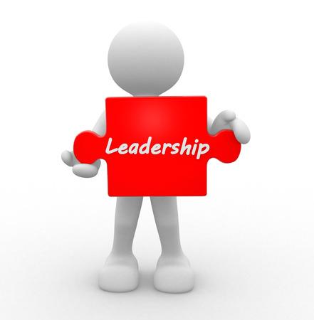 3d people - homme, personne avec un puzzle. Leadership Banque d'images - 32013498