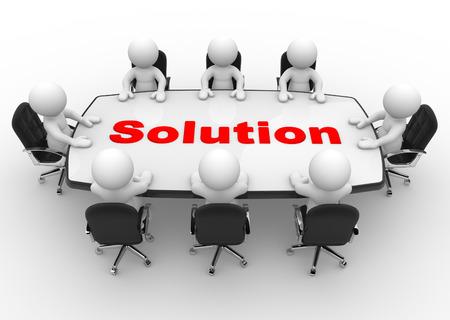 3d people - hommes, personne à la table de conférence. Solution Banque d'images
