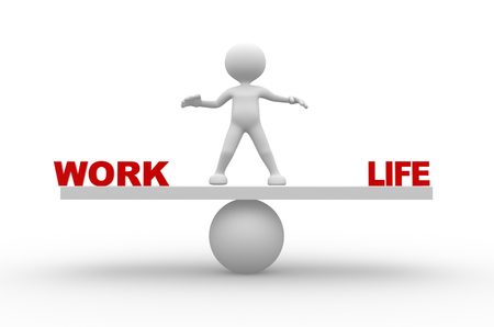 life balance: 3d people - man, person with word work and life