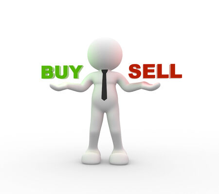 buy sell: 3d people - man, person holding the words Buy and Sell Stock Photo