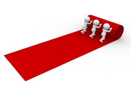 3d people - man, person rolling out the red carpet