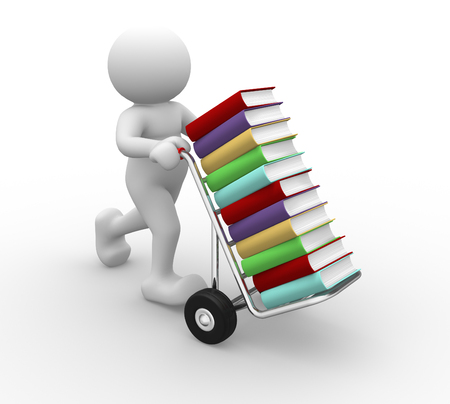 3d people - man, person with handtruck and books