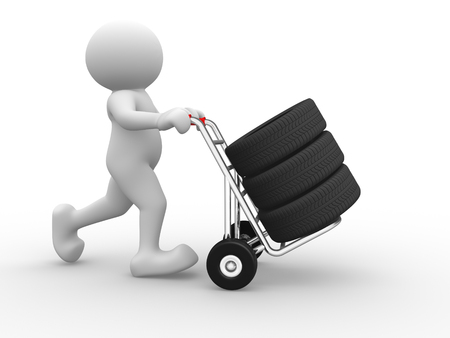 3d people - man, person and tyre on hand truck. photo