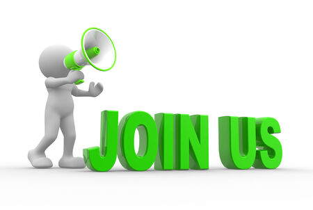 group  join: 3d people - man, person with megaphone. Join us