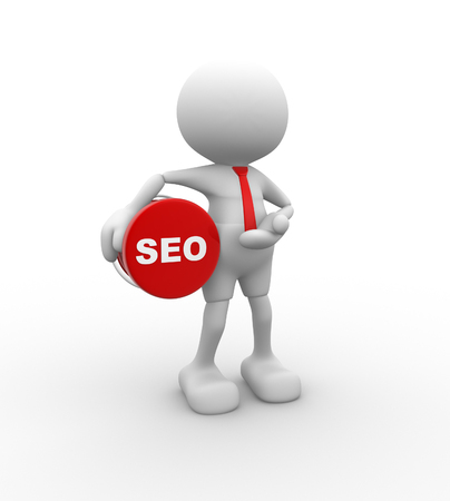 3d people - man, person with seo (search engine optimization) button. photo